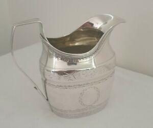 Solid Bright Cut Silver Georgian Milk Jug - London 1801