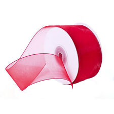 "1/4"" Plain Sheer Organza Nylon Ribbon 25 Yards - Red"