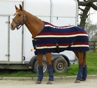Rhinegold Elite Fleece Show Cooler Fleece Horse Rug - Burgundy Stripe