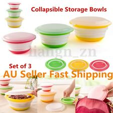 3Pcs Silicone Collapsible Storage Bowls Lids Set Stackable Prep Food Containers