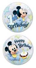 "22"" BUBBLE BALLOON ""MICKEY MOUSE 1ST BIRTHDAY"" PARTY DECORATION - STRETCHY"