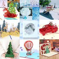 Christmas 3D Up Greeting Cards Claus Santa Deer Snowflake Card Holiday 2019