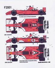 1/20 Ferrari F2001-F2002 Tobacco decal /Tamiya/F1
