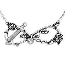 Controse Rockabilly Infiniti Symbol Love Anchor Rose CZ Pendant Necklace CN167