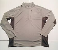 LL Bean Mens Lt Grey/Dark Grey AirLight Pullover 1/4 Zipper Slightly Fitted SZ L