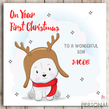 Personalised First Christmas Card Baby Son Grandson Godson Nephew Brother Boys