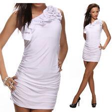 vestito monospalla tubino abito da cocktail con fiore bianco