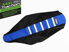 YAMAHA YZ125 YZ250 RIBBED GRIPPER SEAT COVER BLACK + BLUE + WHITE STRIPES RIBS