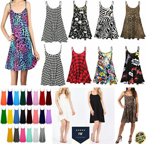 Womens Ladies Camisole Flared Skater Strappy Vest Top Cami Swing Mini Dress 8-26