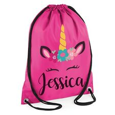 Personalised Any Name Unicorn Girls Back To School Drawstring Bag PE Kid #MBU1