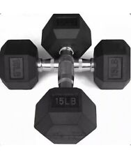 Weider Hex Rubber 15 lb Pound Set of Two New Dumbbell Weights | 30 lbs Total