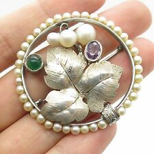 Fine Pins & Brooches Pearl Antq 925 Sterling Silver Natural Pearl Pin Brooch