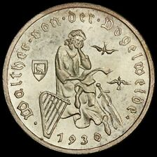 1930-G Germany 3 Reichsmark Vogelweide Silver Coin - KM# 69 - UNC Uncirculated