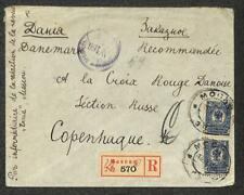 RUSSIA SCOTT #79 (x2) STAMPS MOSCOW TO DENMARK WW1 CENSOR REGISTERED COVER 1