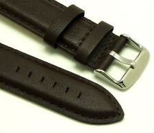 20mm Dark Brown High Quality Leather Men's Watch Strap Stainless Silver Buckle