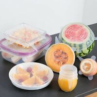 6 Reusable Silicone Stretch Lids Wrap Bowl Seal Cover Kitchen Keep Food Fresh