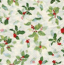 4x PAPER NAPKINS for Decoupage CLASSIC ILEX CREAM HOLLY Christmas