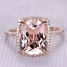 14k Rose Gold 5.48ct Natural Pink Morganite Diamond Anniversary Engagement Ring