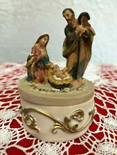 "Christmas Trinket Box, Infant Jesus, Mary & Joseph, 2-7/8""H, Resin  New"