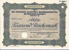 Rarität!  Aktie Dr. Volkmar Klopfer´s Nahrungsmittel AG 1000 RM 1928 Dresden A20