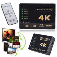 5 Port 4K HDMI Switch Selector Splitter Hub IR Remote Control 3D 1080P For HDTV