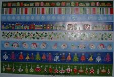 BLUE/WHITE/RED/GREEN/ CHRISTMAS GLITTER PAPER BORDER STICKERS - 8 DESIGNS