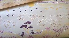 Michael Miller tessuto di cotone FQ Miele HILL DC7302 Prugna conigli in Grigio