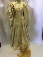 Medieval / Tudor Ladies Dress Cream Gold embossed and headdress Size 8 ex hire