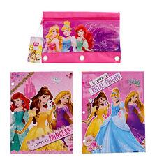 Disney Princess Cindi Ariel 2pcs School File Folder Portfolios + 1 Pencil Pouch