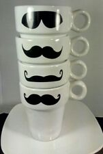 Mustache Coffe Mugs, Lot of 4 Differnt Styles Stackable Mugs, Brand New