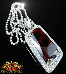 Real Solid Sterling Silver Over 14k White Gold Red Ruby Charm Pendant Chain +Set