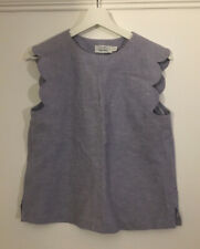 & other stories blue chambray linen scallop edge sleeveless top blouse size 8/10
