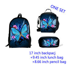 Butterfly Print Girls Backpack Rucksack Lunch box Pen Bag Set Back to  School