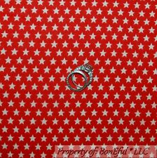 BonEful Fabric Flannel Cotton Quilt Red White STAR Super Hero American BTY SCRAP