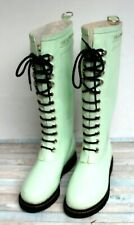 ILSE JACOBSEN HORNBAEK BABY GREEN LACE UP WATERPROOF FLEECE RAIN BOOTS Sz 6/36