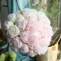 5 Heads Artificial Fake Peony Silk Flower Bridal Bouquet Hydrangea Wedding Home