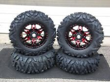 "POLARIS SCRAMBLER XP1000 27"" QUADKING 14"" HD7 RED ATV TIRE & WHEEL KIT POL1CA"