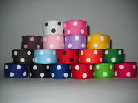 GROSGRAIN RIBBON  5 YARDS OF 7/8 INCH POLKA DOT*CHOOSE FROM 17 COLORS