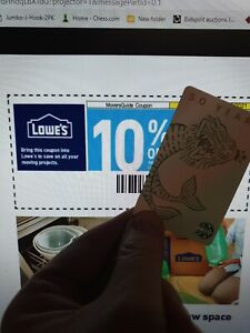 1x Lowes 10% In-Store & Online !!! - 100% GUARANTEED - Exp 03/20/2021