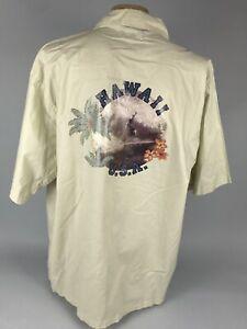 Bellini Men's Size 2X Sport Hawaii Beige Orange Hibiscus Short Sleeve Shirt Top