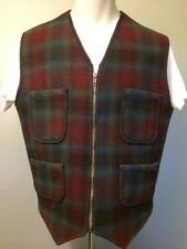 Woolrich Vest Hunting Camping Wool Shadow Plaid Mens Lg Outdoor Field Coat Zip L