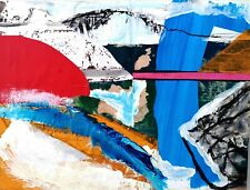 LANYON ABSTRACT SEASCAPE INSPIRED ST IVES NIGEL WATERS MIXED MEDIA 50% OFF *