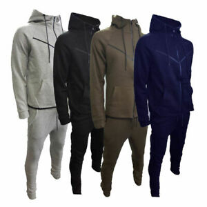 New Mens V Shaped Design Tracksuit Slim Fit Joggers Pants Bottoms Top Zip Hoodie