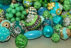 20 pieces Jesse James Beads Green, Teal, Mint Indonesian, Hand Beaded JJB508
