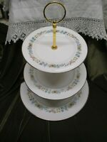LOVELY VINTAGE ROYAL DOULTON  CHINA PLATED 3 TIER CAKE STAND PASTORALE'