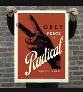 OBEY RADICAL PEACE (Red) Signed & Numbered Screen by Shepard Fairey