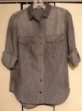 CHELSEA & VIOLET Light Gray Button Down Roll Sleeve Shirt