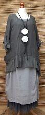 Lagenlook Lino increíble Boho Gitano Top/túnica de gran tamaño ** ** Carbón Talla XXL-XXXL