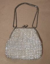 vintage Magid silver mounted cut crystal clutch evening hand bag purse