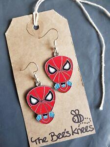 Spiderman Peter Parker enamel charm handmade earrings silver earwires hooks